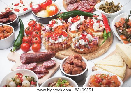 Tapas or antipasto food, mediterranean appetizers great for parties