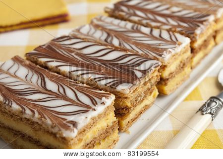 Moroccan mille feuille pastries in a row
