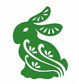 image of bunny rabbit  - Rabbit silhouette illustrated with paper cut style - JPG