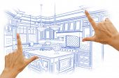 stock photo of interior sketch  - Female Hands Framing Blue Custom Kitchen Design Drawing - JPG