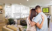 pic of interior sketch  - Young Military Couple Inside Custom Room and Design Drawing Combination - JPG