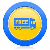 image of free-trade  - free delivery blue yellow icon transport sign  - JPG