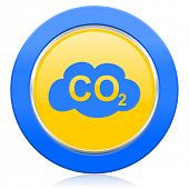 stock photo of carbon-dioxide  - carbon dioxide blue yellow icon co2 sign  - JPG