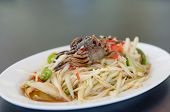 pic of green papaya salad  - spicy papaya salad with crab on dish asian spicy food - JPG