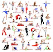 image of gymnastic  - collage of beautiful little girl gymnasts  perform exercises on a white background - JPG