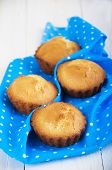 image of bakeshop  - Homemade Muffins Ready for Breakfast on a napkin on wooden background - JPG