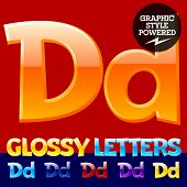 foto of letter d  - Vector set of glossy modern alphabet in different colors - JPG