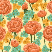 picture of blue rose  - Floral pattern with bright orange roses and small yellow and blue flowers - JPG