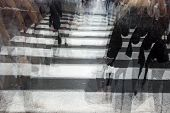 foto of dizziness  - People crossing a road hurrying blurred motion - JPG