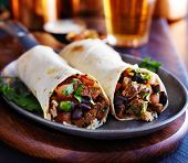 foto of rice  - two beef burritos with rice - JPG