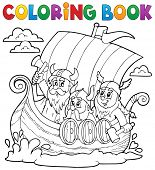 stock photo of viking ship  - Coloring book with Viking ship  - JPG