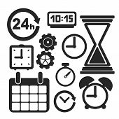foto of stopwatch  - Set of interface clock and web and mobile logo icons isolated on white - JPG