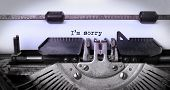 stock photo of typewriter  - Vintage inscription made by old typewriter I - JPG