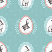 picture of hare  - Seamless vintage pattern with ink hand drawn hare illustrations - JPG