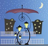 picture of enamored  - Two enamored lanterns under the umbrella at night - JPG