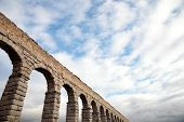 pic of aqueduct  - an old stone aqueduct in Segovia Spain - JPG