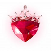 picture of princess crown  - Shiny crystal love heart with princess crown  design - JPG