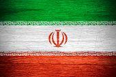stock photo of iranian  - Iran flag or Iranian banner on wooden texture - JPG