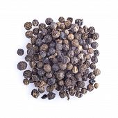 stock photo of peppercorns  - Black peppercorns dried isolated on a white background - JPG