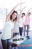 pic of senior class  - The word breath and class stretching hands at yoga class against badge - JPG