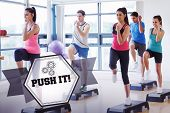 picture of step aerobics  - The word push it - JPG