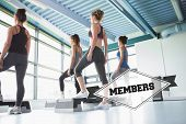 stock photo of step aerobics  - The word members and four women at aerobics against badge - JPG