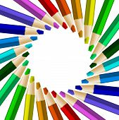 stock photo of color wheel  - Rotated color pencils in arrange in color wheel colors on white background - JPG