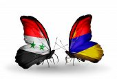 picture of armenia  - Two butterflies with flags on wings as symbol of relations Syria and Armenia - JPG