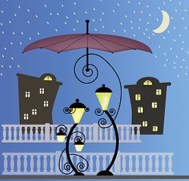 image of enamored  - Two enamored lanterns under the umbrella at night - JPG