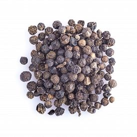 pic of peppercorns  - Black peppercorns dried isolated on a white background - JPG