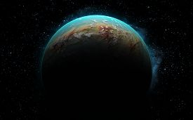 stock photo of sci-fi  - 3D rendering with 1 Earth like planet in deep space - JPG