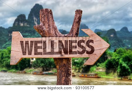 Wellness direction sign with exotic background