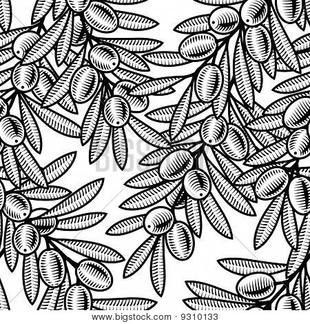 Seamless olive background black and white