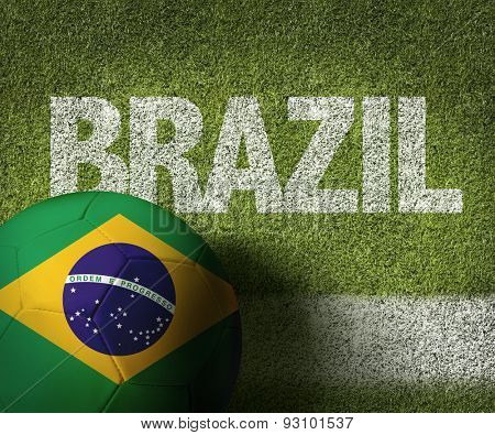Soccer field with the text: Brazil