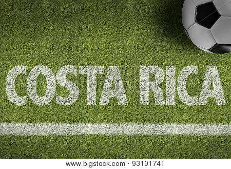 Soccer field with the text: Costa Rica