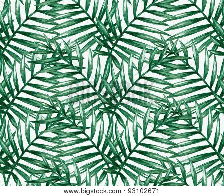 Watercolor tropical palm leaves seamless pattern. Vector illustration.