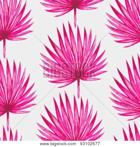 Watercolor tropical pink palm leaves seamless pattern. Vector illustration.