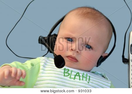 Serious Baby With A Headset