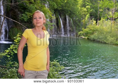 Woman Near  Waterfalls