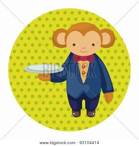 Animal Monkey Waiter Cartoon Theme Elements