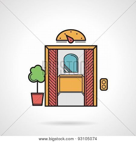 Retro elevator flat color vector icon