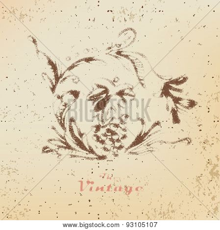 Abstract background of vintage foliage pattern on faded worn pap