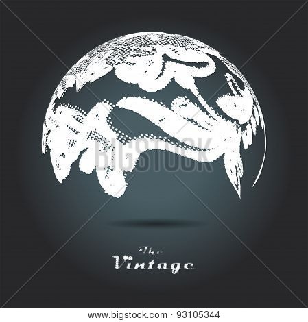 Abstract background of vintage foliage sphere pattern on dark ba