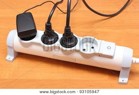 Electrical Cords Connected To Power Strip, Concept Of Energy Saving