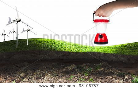 Eco Power, Wind Turbines And Hand Woman Holding Electric Lantern