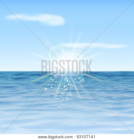 Summer background. Sea view with sunlight, clouds and sky