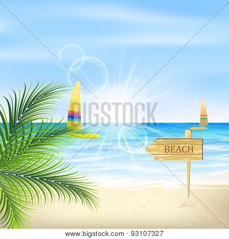 Seacoast with palm leaves, sunshine, beach and sailboats.
