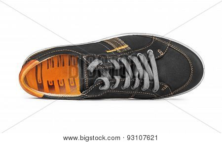 Sneakers Black With Orange Lining On The Side On An Isolated White Background