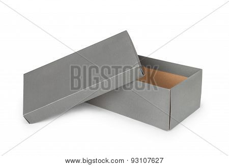 Gray Shoe Box Isolated On White Background