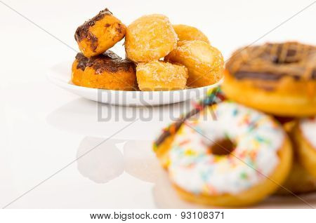 Different types of donuts and coffee